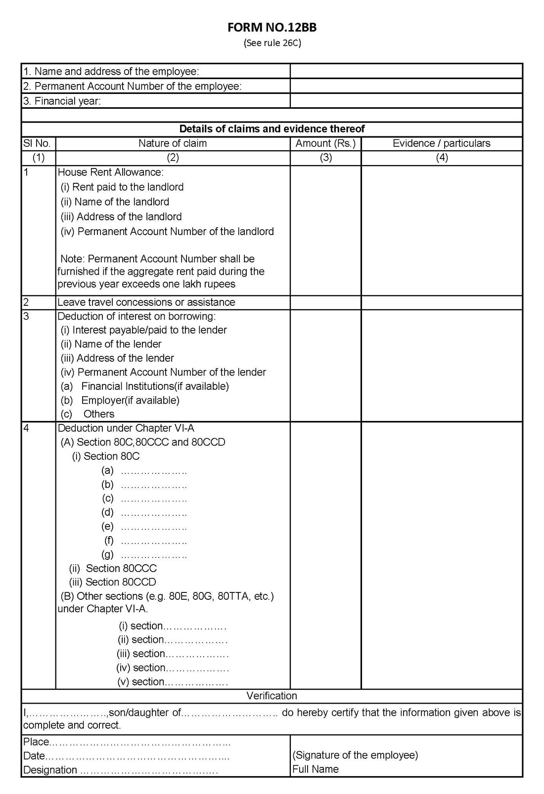 form 12bb   generator form 12bb for fy  2019