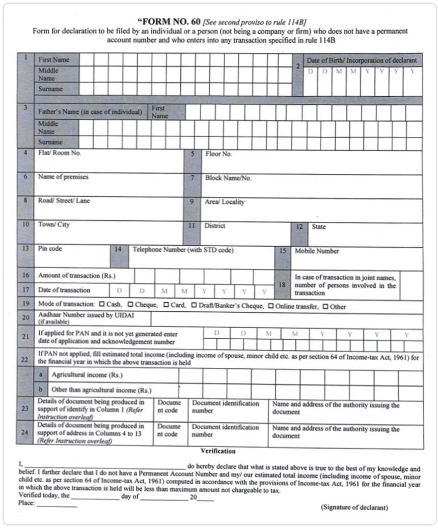 Income Tax Form 60: For those who don't have Pan Card in